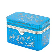 Large Bohemian Turquoise Glass Casket, circa 1880