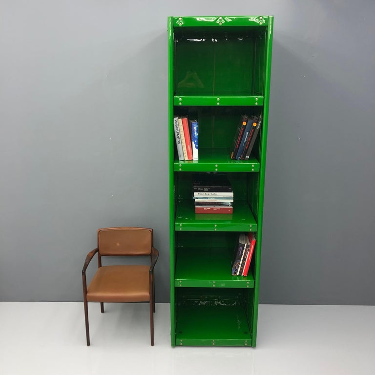 Large Book Case by Otto Zapf Green Foil InDesign, Germany, 1971 For Sale 4
