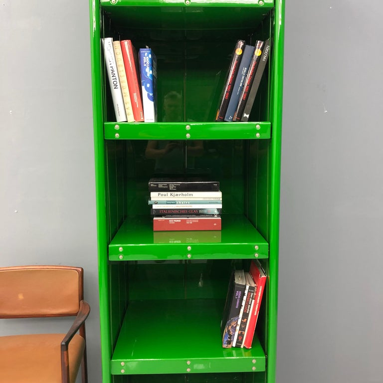 Large Book Case by Otto Zapf Green Foil InDesign, Germany, 1971 For Sale 5
