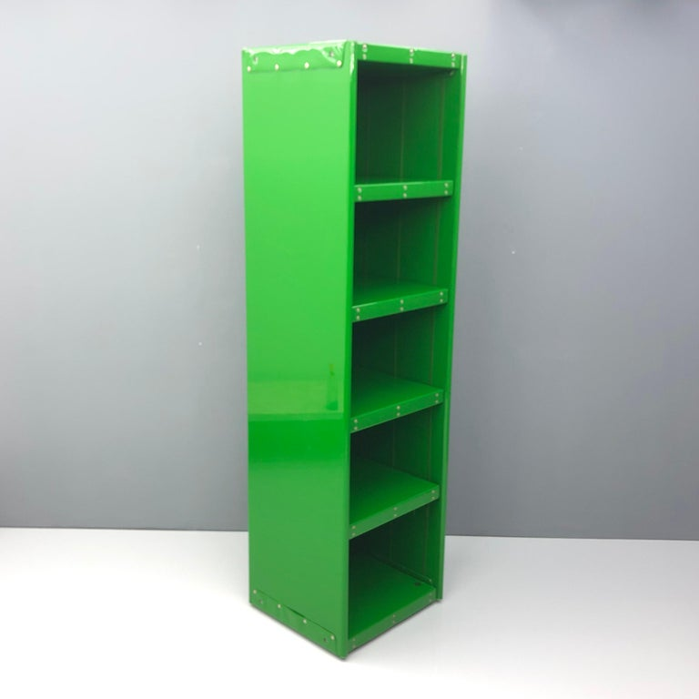 Mid-Century Modern Large Book Case by Otto Zapf Green Foil InDesign, Germany, 1971 For Sale