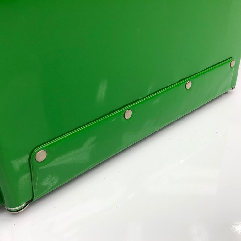 Metal Large Book Case by Otto Zapf Green Foil InDesign, Germany, 1971 For Sale