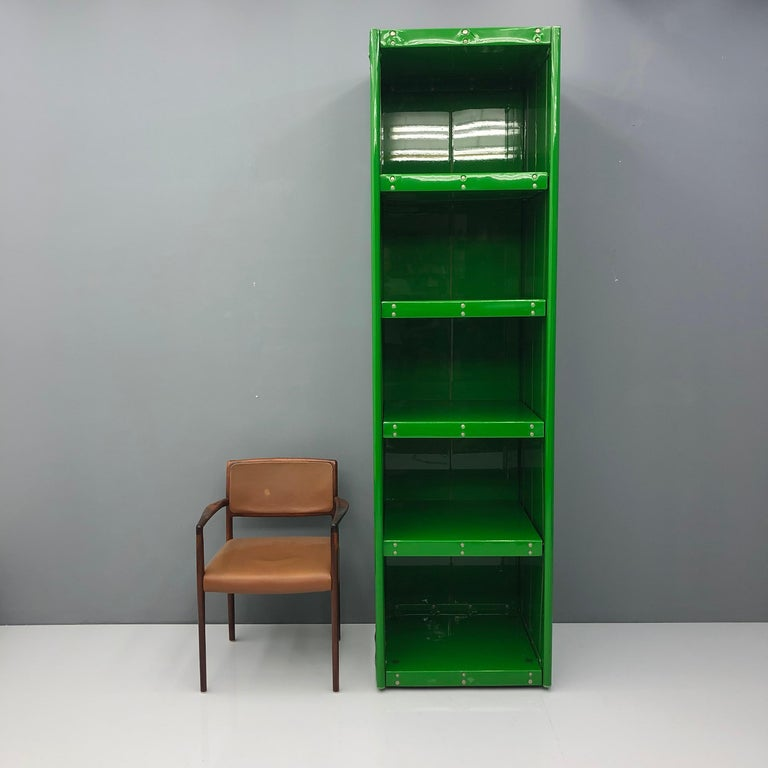 Large Book Case by Otto Zapf Green Foil InDesign, Germany, 1971 For Sale 3