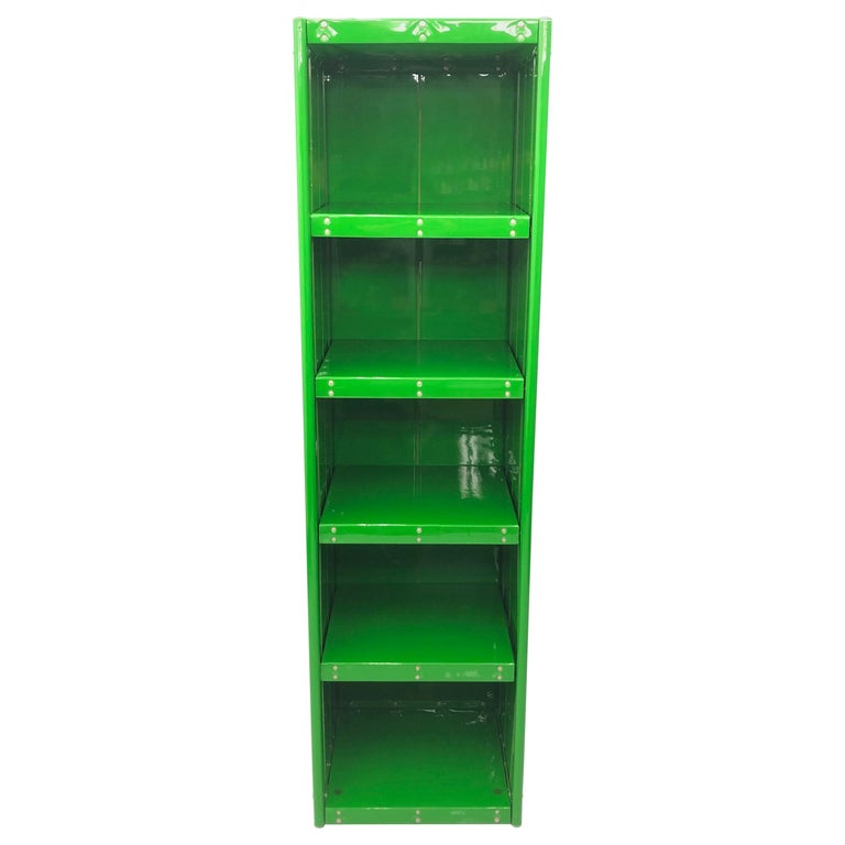 Large Book Case by Otto Zapf Green Foil InDesign, Germany, 1971 For Sale