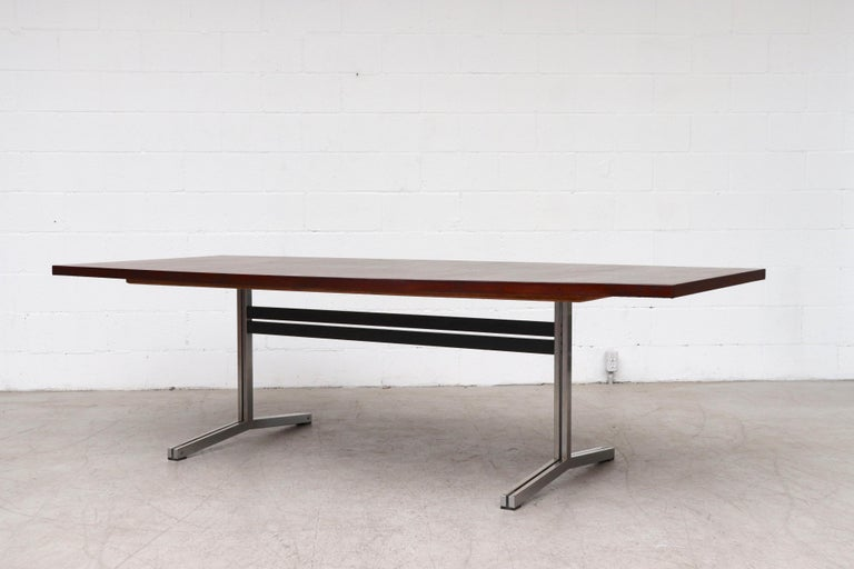 Large Bowed Rosewood Toned AP Originals Conference or Dining Table In Good Condition For Sale In Los Angeles, CA