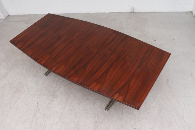 Large Bowed Rosewood Toned AP Originals Conference or Dining Table For Sale 1