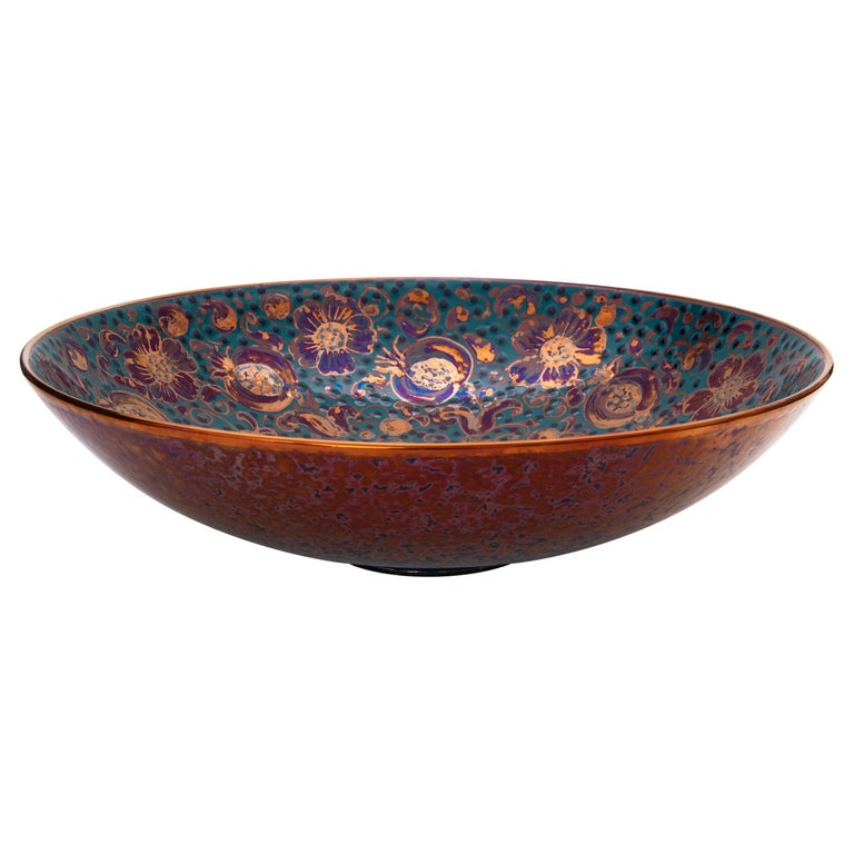 Large Bowl by Bottega Vignoli Hand Painted Glazed Faience Contemporary For Sale