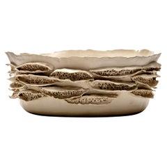 Large Bowl (I) Textured Ceramic Vessel by Trish DeMasi