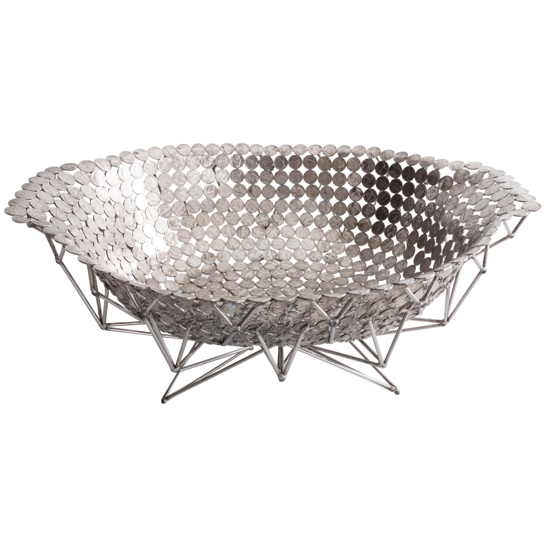 Large Bowl in Nickel with Stainless Steel Base by Johnny Swing, 2018