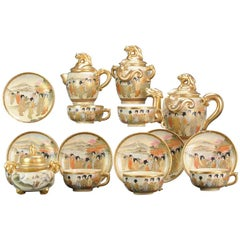 Large Boxed Tea Set Antique 19C Japanese Satsuma Cup Saucer Pot Figures Mark