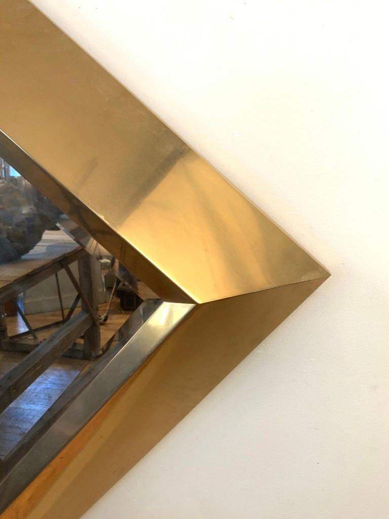Mid-Century Modern Large Brass 1970s Diamond Form Mirror by Marcello Mioni