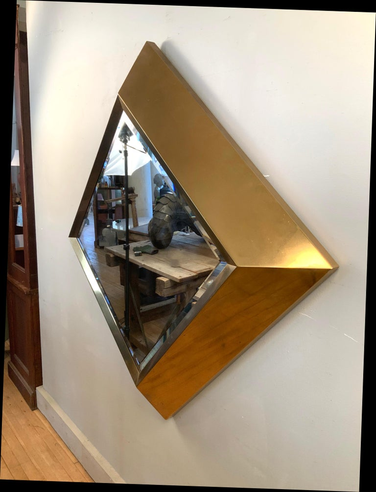 American Large Brass 1970s Diamond Form Mirror by Marcello Mioni