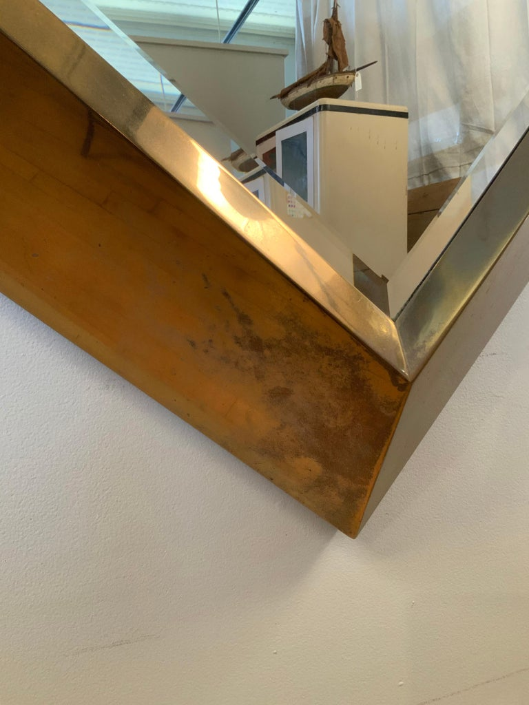 Late 20th Century Large Brass 1970s Diamond Form Mirror by Marcello Mioni