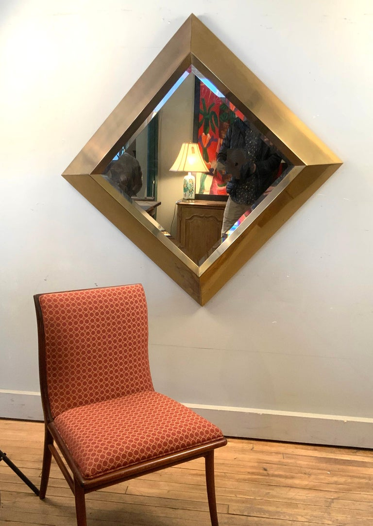 Large Brass 1970s Diamond Form Mirror by Marcello Mioni 2