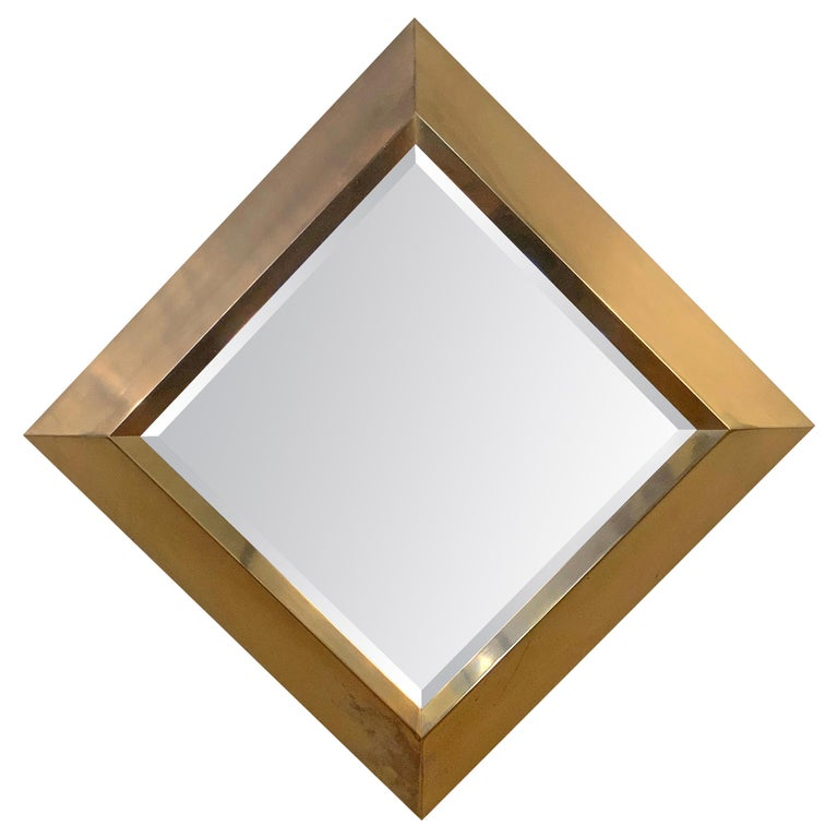 Large Brass 1970s Diamond Form Mirror by Marcello Mioni