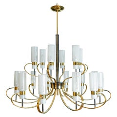 Large Brass and Black Enameled Metal Eighteen Arm Chandelier with Frosted Shades