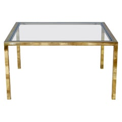 Large Brass and Chrome Mid-Century Coffee Table Attributed to Maison Jansen