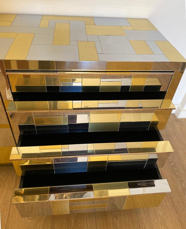 Large Brass and Chrome Sideboard by Paul Evans, USA, 1970's For Sale 4