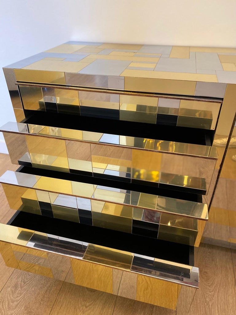Large Brass and Chrome Sideboard by Paul Evans, USA, 1970's For Sale 5