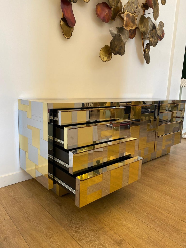 Large Brass and Chrome Sideboard by Paul Evans, USA, 1970's For Sale 6