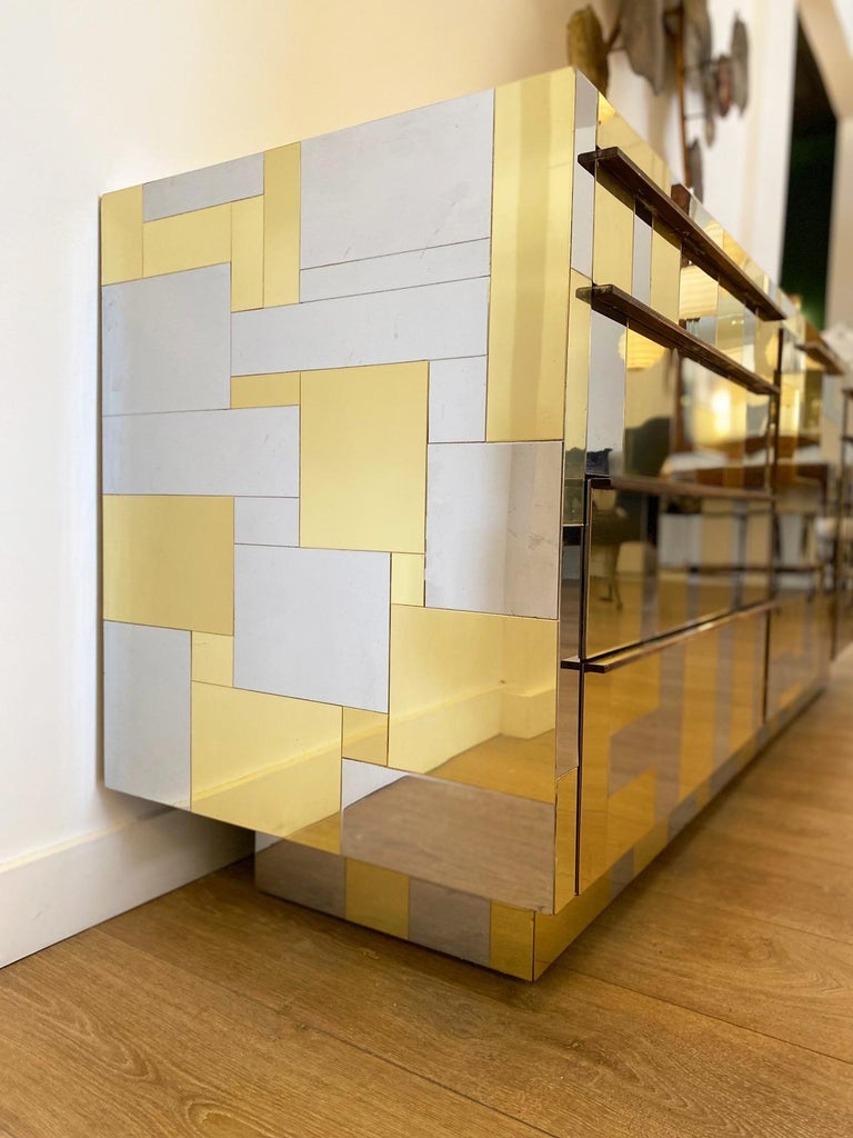 Large Brass and Chrome Sideboard by Paul Evans, USA, 1970's For Sale 7