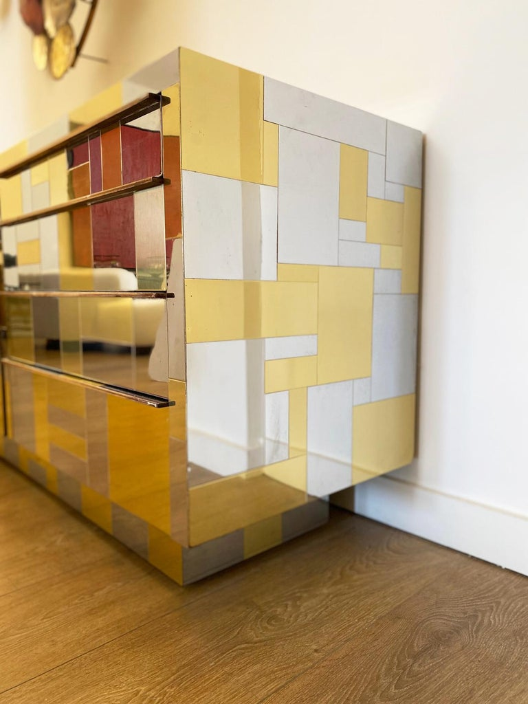 Large Brass and Chrome Sideboard by Paul Evans, USA, 1970's For Sale 8