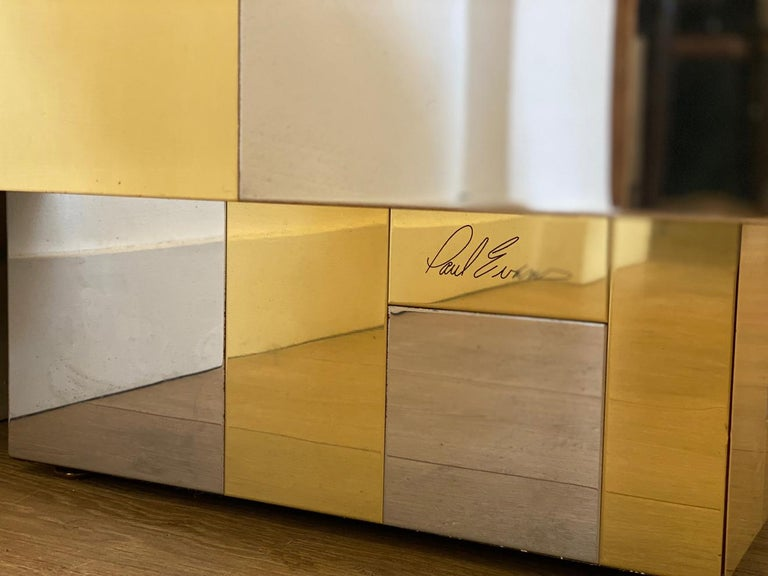 Large Brass and Chrome Sideboard by Paul Evans, USA, 1970's For Sale 9