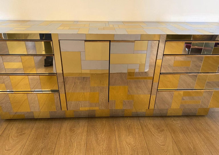 Mid-Century Modern Large Brass and Chrome Sideboard by Paul Evans, USA, 1970's For Sale