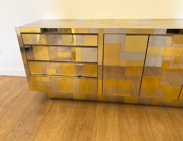 North American Large Brass and Chrome Sideboard by Paul Evans, USA, 1970's For Sale