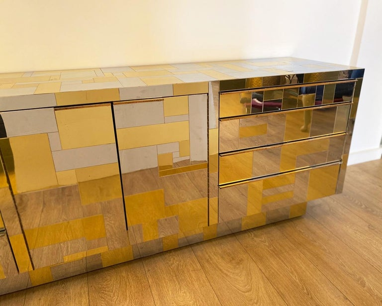 Large Brass and Chrome Sideboard by Paul Evans, USA, 1970's In Excellent Condition For Sale In Miami, FL