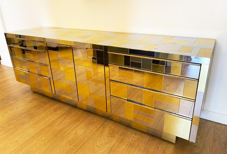 Late 20th Century Large Brass and Chrome Sideboard by Paul Evans, USA, 1970's For Sale