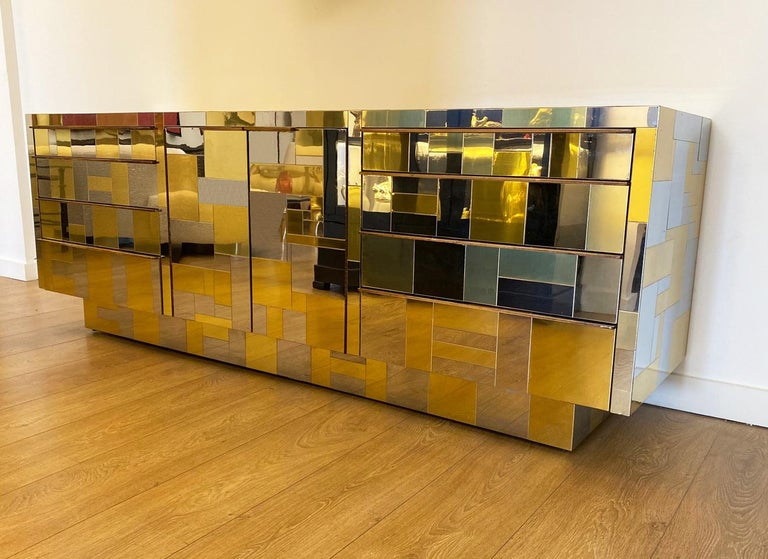 Large Brass and Chrome Sideboard by Paul Evans, USA, 1970's For Sale 1