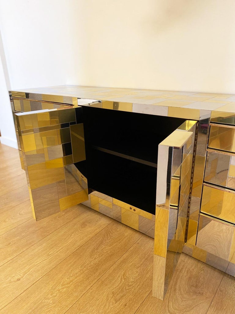 Large Brass and Chrome Sideboard by Paul Evans, USA, 1970's For Sale 2