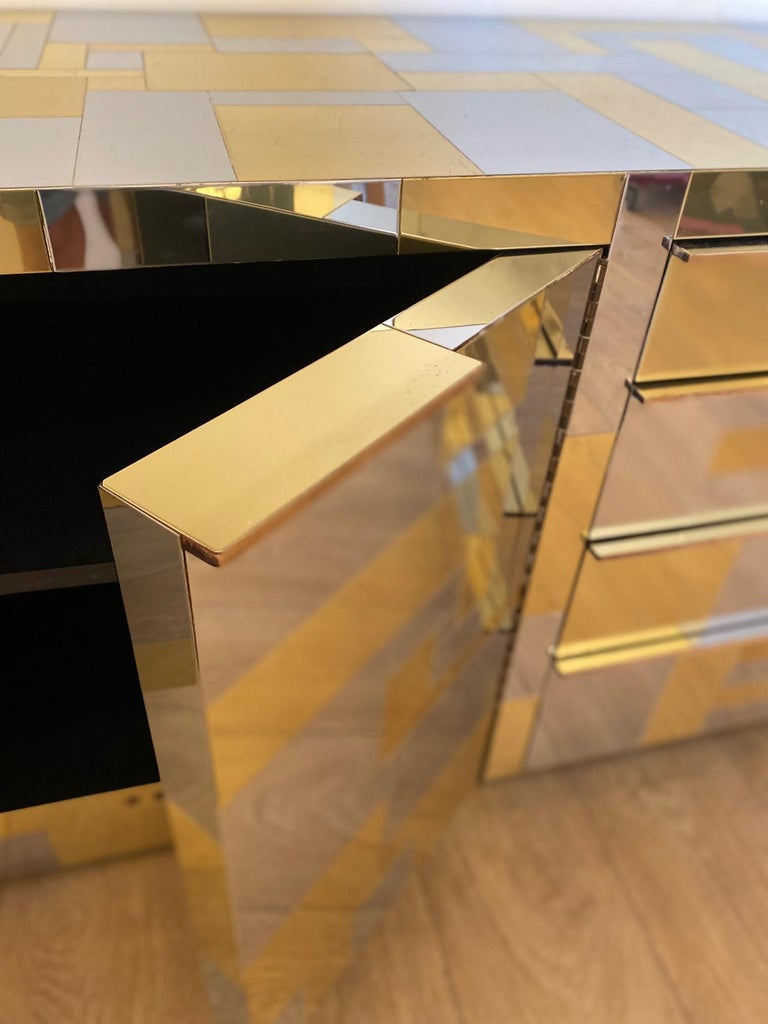 Large Brass and Chrome Sideboard by Paul Evans, USA, 1970's For Sale 3