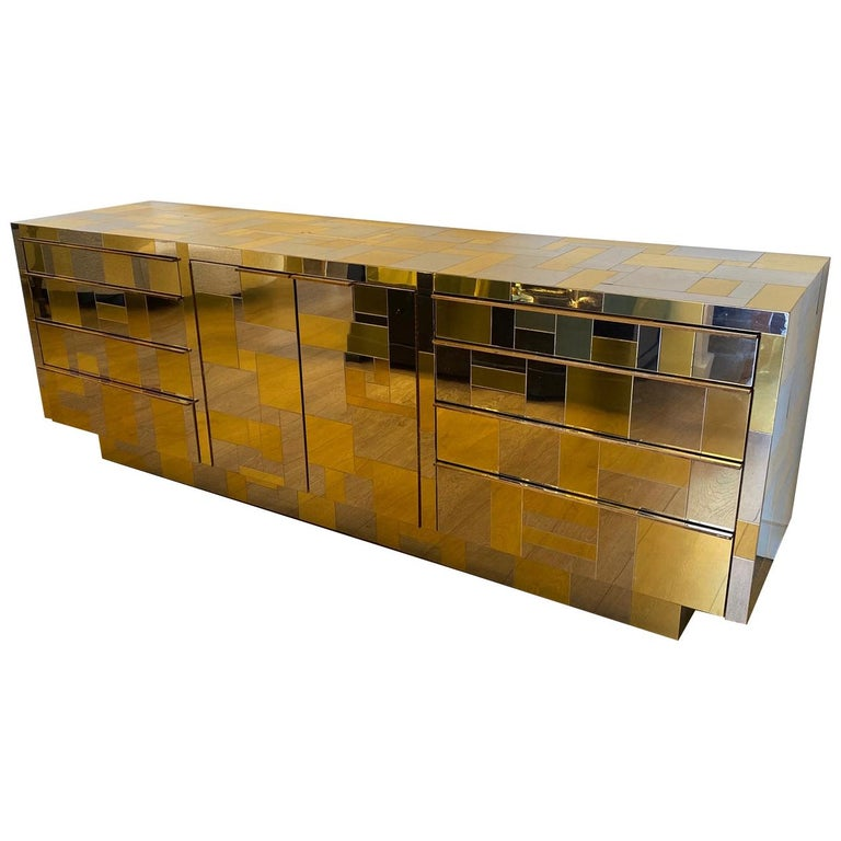 Large Brass and Chrome Sideboard by Paul Evans, USA, 1970's For Sale