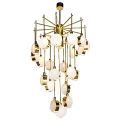 Large Brass and Clear Murano Glass Disc Spiral Cascading Chandelier, Italy