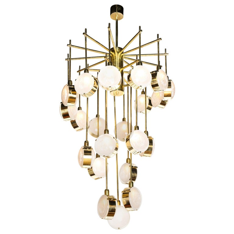 Large Brass and Clear Murano Glass Disc Spiral Cascading Chandelier, Italy For Sale