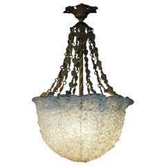 Large Brass and Glass Flower Pendant, Italian Chandelier, circa 1930s