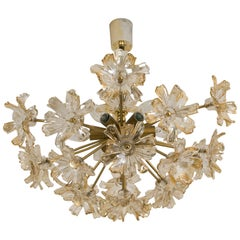 Large Brass and Glass Murano Flower Chandelier, Italy, 1970