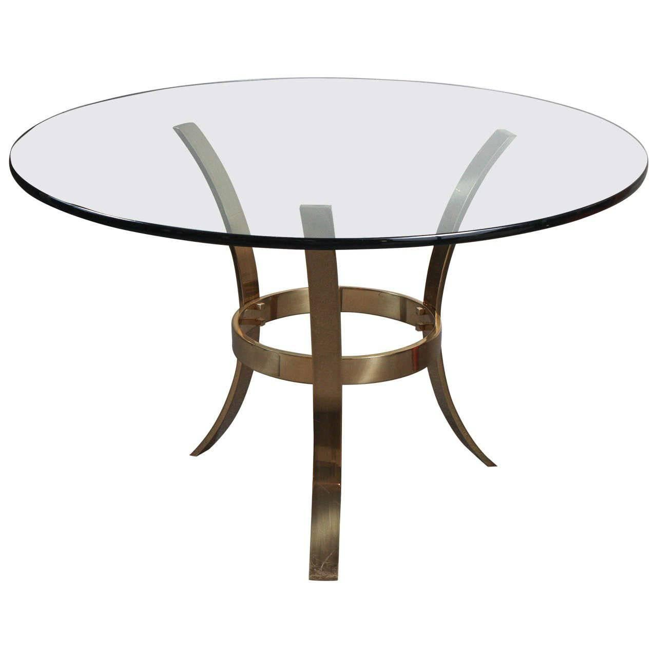 Large Brass and Glass Tripod Entry Table