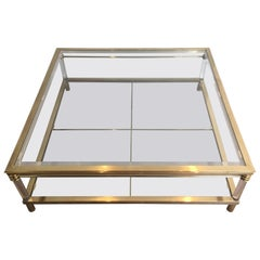 Large Brass and Lucite Square Coffee Table