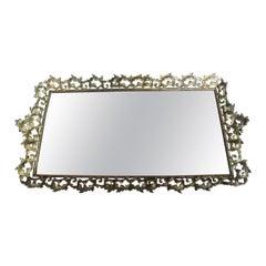 Large Brass and Mirror Vanity Tray, Very Elaborate Vanity Tray
