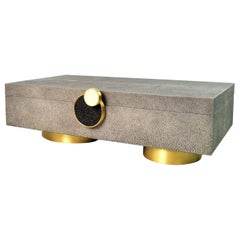 Large Brass and Shagreen Box Circle by Ginger Brown