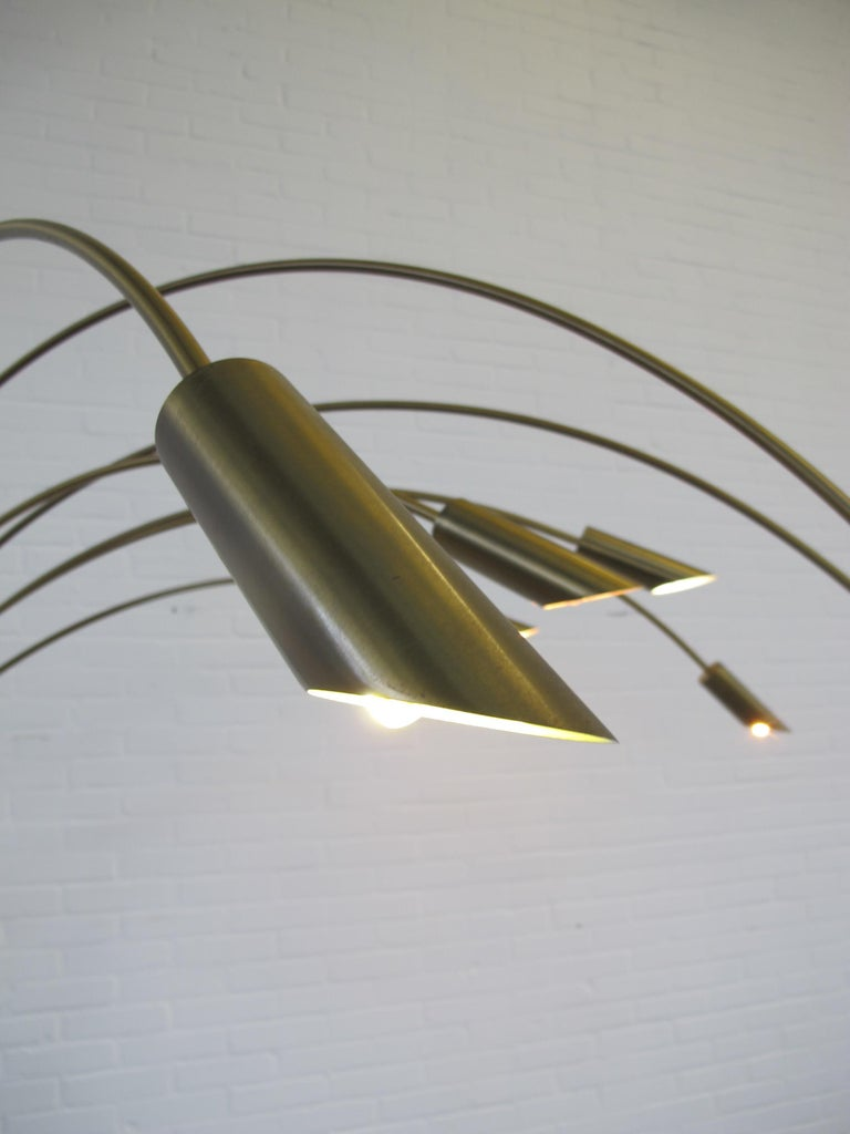 Large Brass Arc Floor Lamp, Italy, 1970s For Sale 1