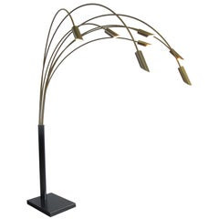 Large Brass Arc Floor Lamp, Italy, 1970s