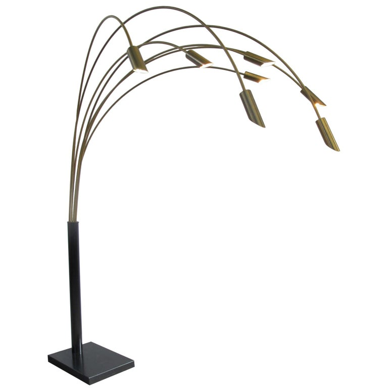Large Brass Arc Floor Lamp, Italy, 1970s For Sale