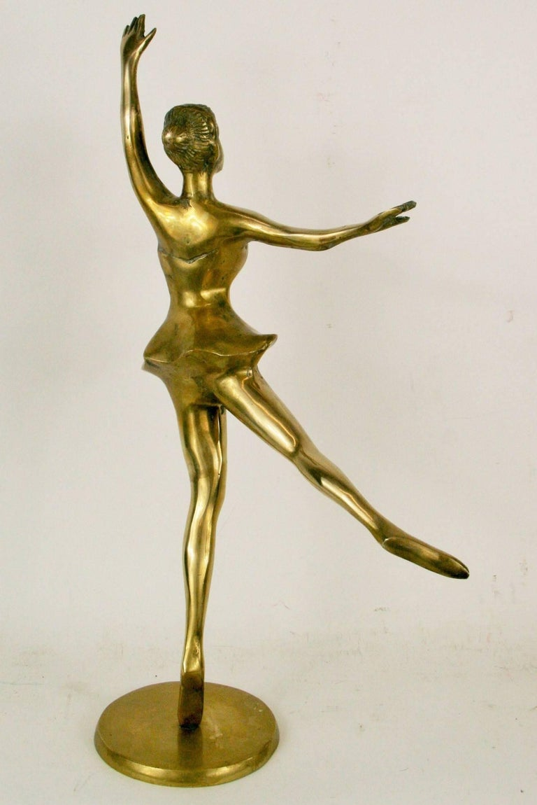Large Brass Ballerina Sculpture In Good Condition For Sale In Douglas Manor, NY