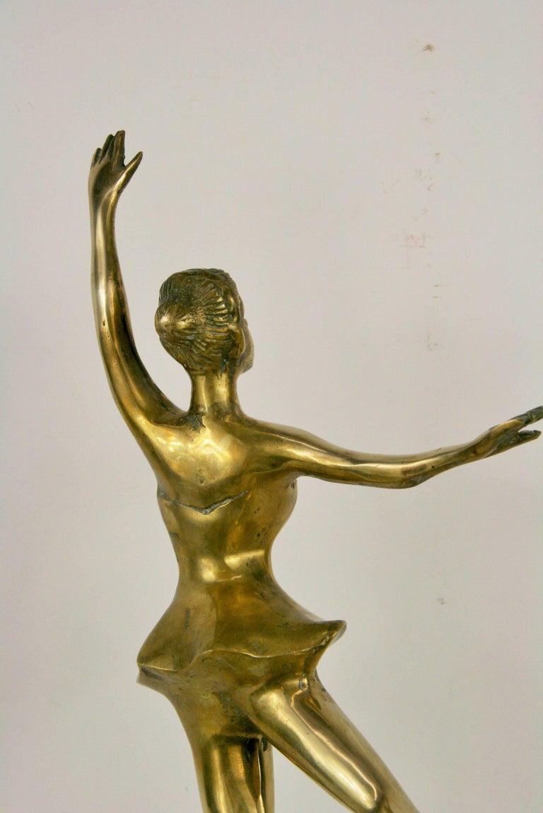Mid-20th Century Large Brass Ballerina Sculpture For Sale