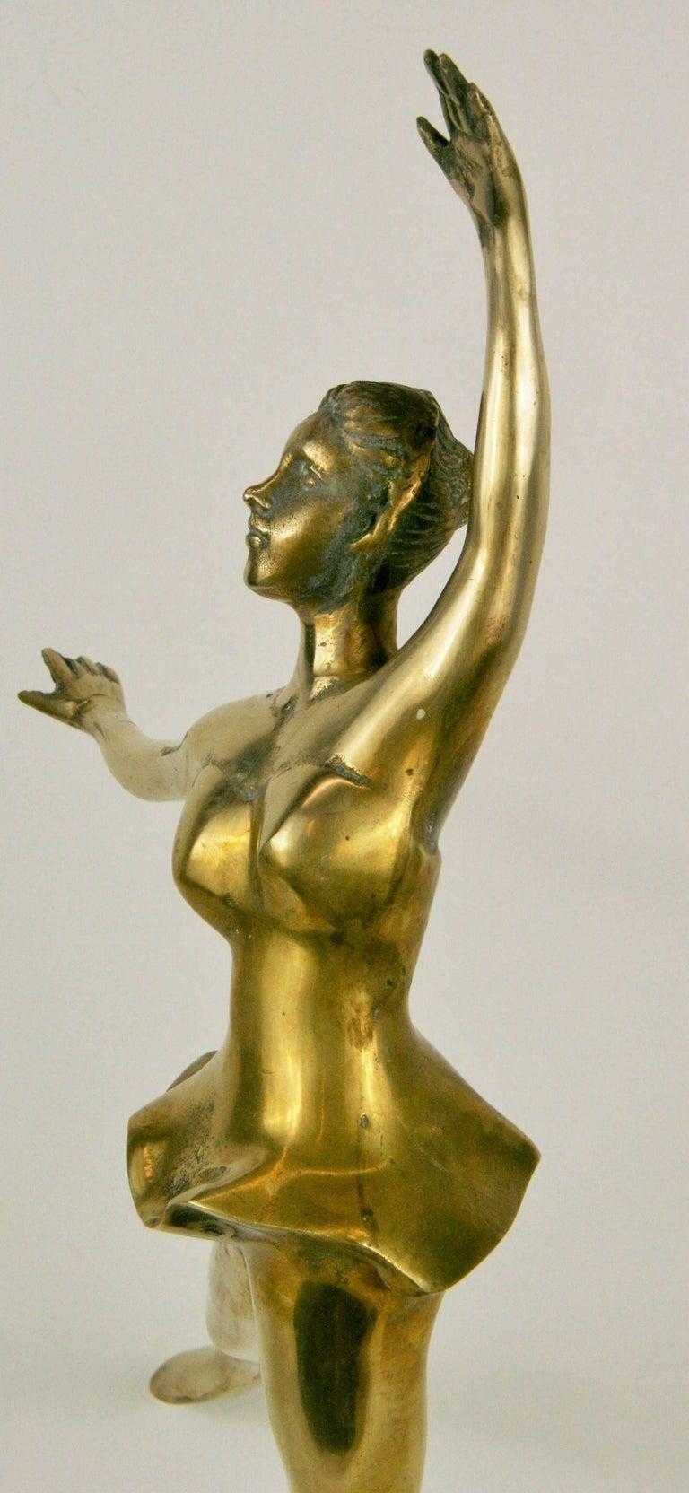 Large Brass Ballerina Sculpture For Sale 1
