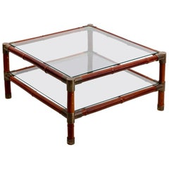 Large Brass Banded Two Tier Square Coffee Table by Willy Rizzo