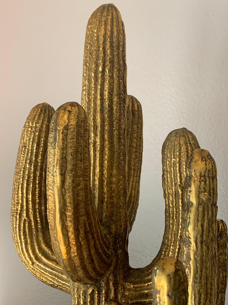 Large Brass Cactus Sculpture For Sale 4